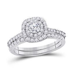 Round Diamond Bridal Wedding Ring Band Set 1 Cttw 14kt White Gold - REF-82K5Y