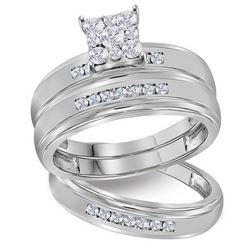 His Hers Round Diamond Square Matching Wedding Set 1/2 Cttw 10kt White Gold - REF-43A5M