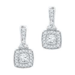 Womens Round Diamond Square Dangle Earrings 1/2 Cttw 10kt White Gold - REF-32N5F