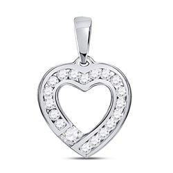 Womens Round Diamond Outline Heart Pendant 1/4 Cttw 10kt White Gold - REF-15W9K