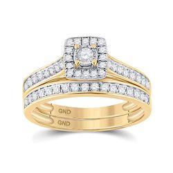 Round Diamond Halo Bridal Wedding Ring Band Set 1/2 Cttw 10kt Yellow Gold - REF-36R9X