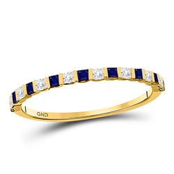 Womens Princess Blue Sapphire Diamond Stackable Band Ring 3/8 Cttw 10kt Yellow Gold - REF-15F9W