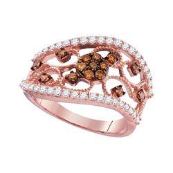 Womens Round Brown Diamond Filigree Band Ring 7/8 Cttw 10kt Rose Gold - REF-45H5R