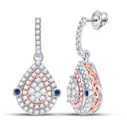 Womens Round Diamond Teardrop Dangle Earrings 5/8 Cttw 10kt Two-tone Gold - REF-47R9X