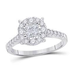 Princess Diamond Cluster Bridal Wedding Engagement Ring 3/4 Cttw 14kt White Gold - REF-59M9H