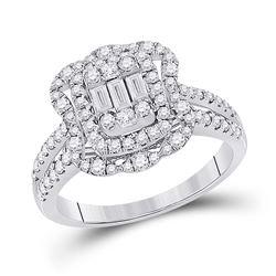 Womens Baguette Diamond Cluster Ring 1 Cttw 14kt White Gold - REF-87M5H