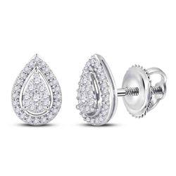 Womens Round Diamond Teardrop Earrings 1/2 Cttw 14kt White Gold - REF-38K9Y