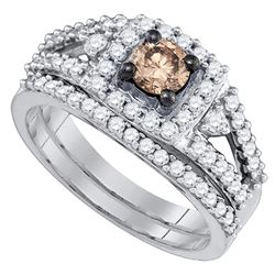Womens Round Brown Diamond Bridal Wedding Ring Band Set 1 Cttw 14kt White Gold - REF-93R9X