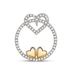 Womens Round Diamond Circle Heart Pendant 1/5 Cttw 10kt Yellow Gold - REF-10N5F