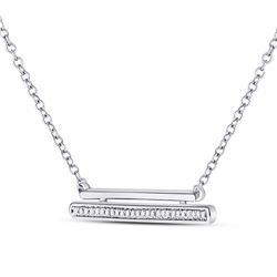 Womens Round Diamond Double Horizontal Bar Necklace 1/10 Cttw 10kt White Gold - REF-16K9Y
