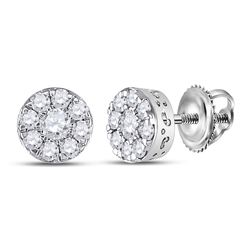 Womens Round Diamond Cluster Earrings 1/2 Cttw 10kt White Gold - REF-28A5M