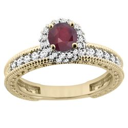 0.95 CTW Ruby & Diamond Ring 14K Yellow Gold - REF-66W2F