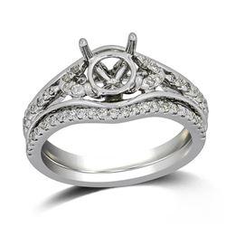 0.32 CTW Diamond Wedding Ring Set 14K White Gold - REF-43M7F