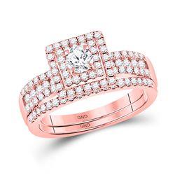 Round Diamond Bridal Wedding Ring Band Set 7/8 Cttw 14kt Rose Gold - REF-76X5A