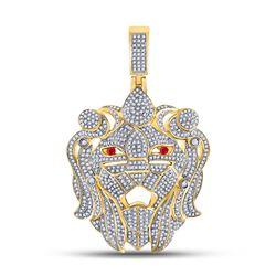 Mens Round Diamond Lion Head Charm Pendant 1-7/8 Cttw 10kt Yellow Gold - REF-107F9W