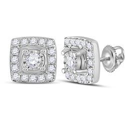 Womens Round Diamond Square Earrings 1/5 Cttw 10kt White Gold - REF-16W9K