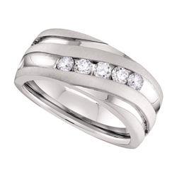 Mens Round Diamond Diagonal Wedding Band Ring 1/2 Cttw 10kt White Gold - REF-81X9A