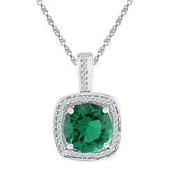 Womens Round Lab-Created Emerald Solitaire Pendant 4 Cttw 10kt White Gold - REF-18X5A