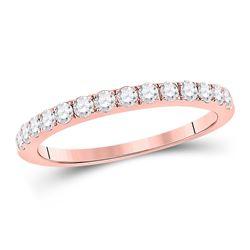 Womens Round Diamond Wedding Single Row Band 1/2 Cttw 10kt Rose Gold - REF-30A5M