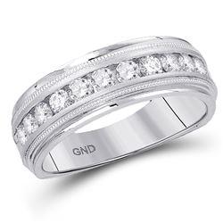 Mens Machine Set Round Diamond Wedding Channel Band Ring 1/4 Cttw 10kt White Gold - REF-32X5A