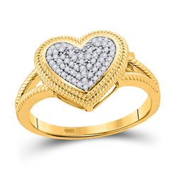 Womens Round Diamond Rope Heart Cluster Ring 1/6 Cttw 10kt Yellow Gold - REF-19A9M