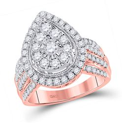 Womens Round Diamond Teardrop Pear Cluster Ring 1-1/2 Cttw 14kt Rose Gold - REF-129M5H