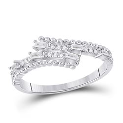 Womens Baguette Diamond Bypass Band Ring 1/5 Cttw 14kt White Gold - REF-21K5Y