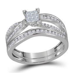 Princess Diamond Bridal Wedding Ring Band Set 1/2 Cttw 14kt White Gold - REF-43K5Y