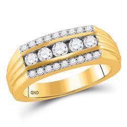 Mens Round Diamond Wedding Machine-Set Band Ring 1 Cttw 14kt Yellow Gold - REF-101M5H
