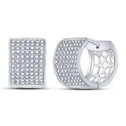 Womens Round Diamond Huggie Earrings 1/2 Cttw 10kt White Gold - REF-38F9W