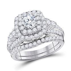 Round Diamond Bridal Wedding Ring Band Set 2 Cttw 14kt White Gold - REF-219H5R