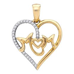 Womens Round Diamond Mom Mother Heart Pendant 1/10 Cttw 10kt White Gold - REF-12H9R