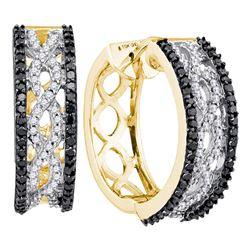 Womens Round Black Color Enhanced Diamond Hoop Earrings 3/4 Cttw 10kt Yellow Gold - REF-41R5X