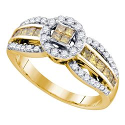 Womens Princess Yellow Color Enhanced Diamond Cluster Ring 3/4 Cttw 14kt Yellow Gold - REF-46Y9N