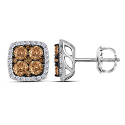 Womens Round Brown Diamond Square Cluster Earrings 1 Cttw 14kt White Gold - REF-49X9A