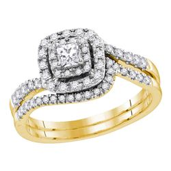 Princess Diamond Bridal Wedding Ring Band Set 1/2 Cttw 14kt Yellow Gold - REF-57X5A