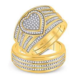 His Hers Round Diamond Heart Matching Wedding Set 1/2 Cttw 10kt Yellow Gold - REF-80N9F