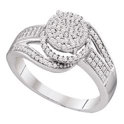 Womens Round Diamond Cluster Ring 3/8 Cttw 10kt White Gold - REF-24H5R