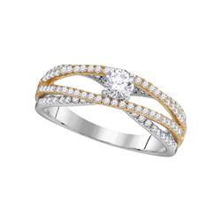 Round Diamond 2-tone Bridal Wedding Engagement Ring 3/4 Cttw 14kt White Gold - REF-67X5A
