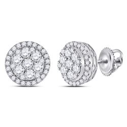 Womens Round Diamond Flower Halo Cluster Earrings 7/8 Cttw 14kt White Gold - REF-60R9X