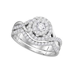 Round Diamond Bridal Wedding Ring Band Set 7/8 Cttw 14k White Gold - REF-74X9A