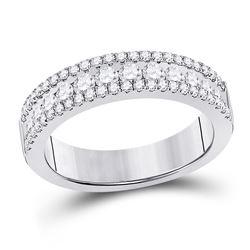 Womens Round Diamond Band Ring 1 Cttw 14kt White Gold - REF-71H9R