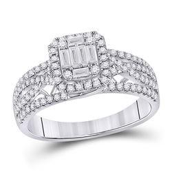 Womens Baguette Diamond Square Cluster Ring 3/4 Cttw 14kt White Gold - REF-74N9F