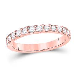 Womens Round Diamond Wedding Single Row Band 1/2 Cttw 14kt Rose Gold - REF-41M5H