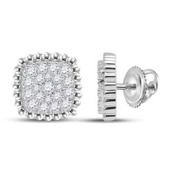 Womens Round Diamond Square Cluster Earrings 1/3 Cttw 10kt White Gold - REF-25K9Y