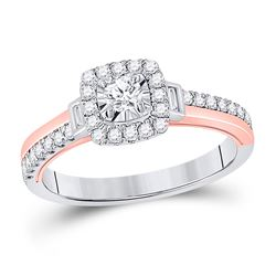Round Diamond Halo Bridal Wedding Engagement Ring 1/2 Cttw 10kt Two-tone Gold - REF-42H5R