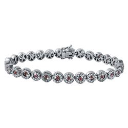 2.48 CTW Ruby & Diamond Bracelet 14K White Gold - REF-183H9M
