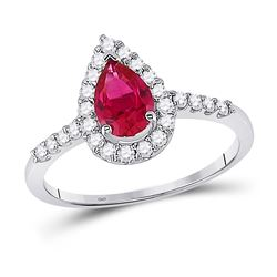 Womens Pear Lab-Created Ruby Solitaire Diamond Frame Ring 1-1/5 Cttw 10kt White Gold - REF-26N5F