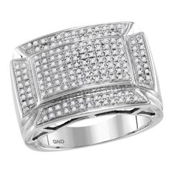 Mens Round Diamond Flared Rectangle Fashion Ring 1/2 Cttw 10kt White Gold - REF-62W9K