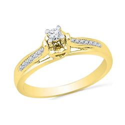 Womens Round Diamond Solitaire Promise Ring 1/6 Cttw 10kt Yellow Gold - REF-16F9W